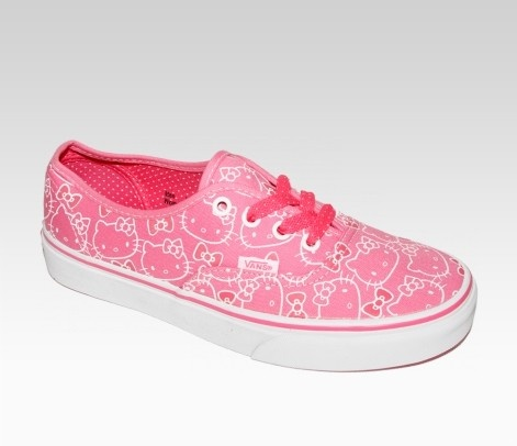VANS x Hello Kitty Authentic Lace Up: Pink - Sanrio and VANS have teamed up to launch a rad new footwear collaboration for Hello Kitty, VANS and sneaker fans of all ages! The Hello Kitty Authentic Lace Up shoe features a supercute canvas print with the signature VANS vulcanized waffle rubber outsole in unisex sizes. These cool low-top kicks are sure to put a skip in your step!