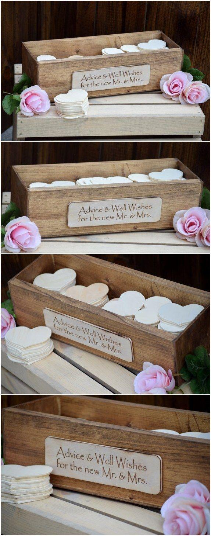 rustic wedding advice box / http://www.deerpearlflowers.com/rustic-country-wood-wedding-guest-books/2/