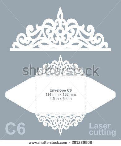 Vector die cut envelope template for laser cutting. Invitation envelope C6. Laser cut paper.