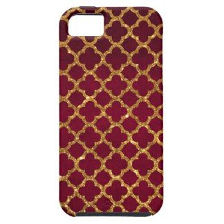 Chic Gold Glitter Quatrefoil Girly Red Burgundy iPhone 5 Cases