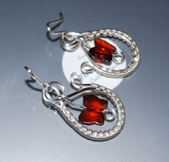 Wire Wrapped Earrings Dangle EarringsDark Red by choice4all