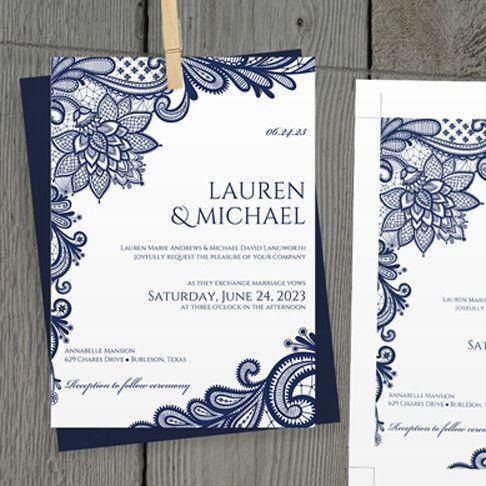 DiY Wedding Invitation Template - EDITABLE TEXT - Ornate Lace (Navy Bl – Karma K. Weddings