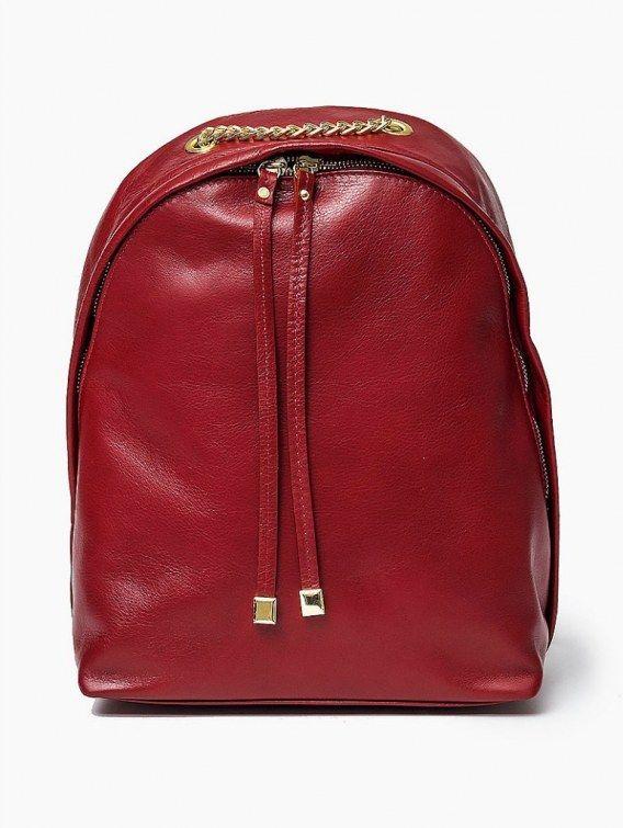 100 % Włoska skóra - torebka plecak Czerowna Oryginalna torba damska (plecak) włoskiej produkcji (Vera Pelle/Vezze) wykonana ze skóry naturalnej najwyższej jakości. Skóra miękka, miła w dotyku. Plecak charakteryzuje się prostą budową. Wewnątrz znajduje si