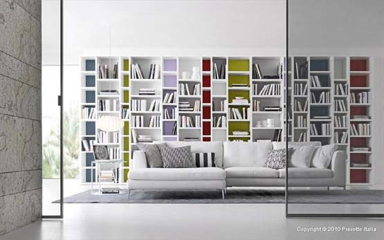 Bookshelves Living Room by Presotto | Interior Design Decorating