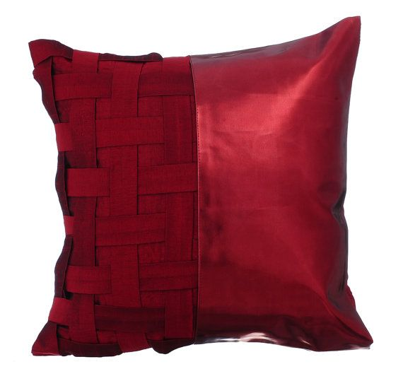 I love this color; Red N Half -  16x16 Red basket weave & Metallic Faux Leather Throw Pillow. Check it out.