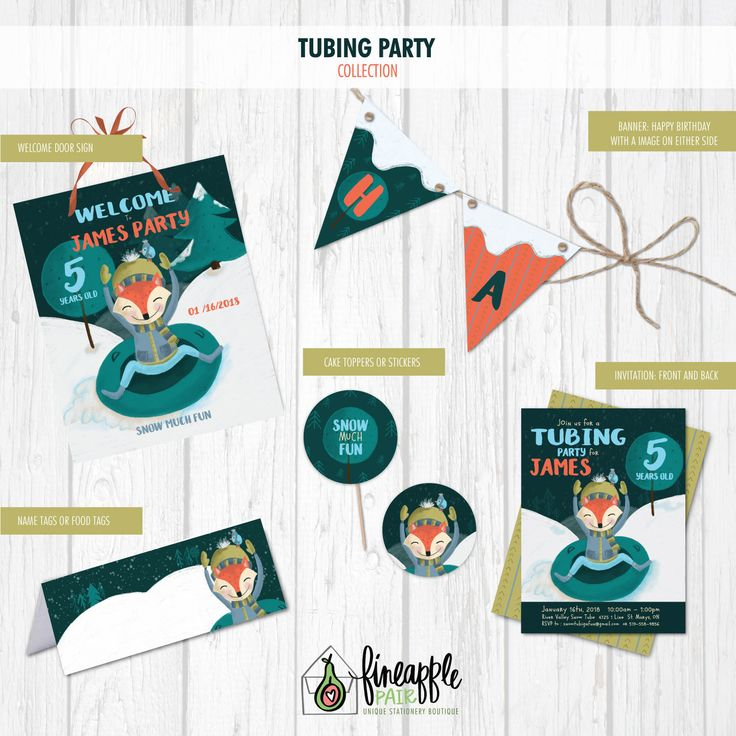 Tubing Party Invitation, Tubing Birthday, Boy Birthday, Winter Party, Sledding Party, winter, Snow, Fox, Fox Birthday, teal, invitations by FineapplePair on Etsy