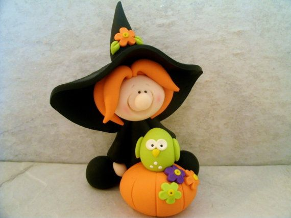 Halloween Witch Owl Pumpkin Figurine by countrycupboardclay