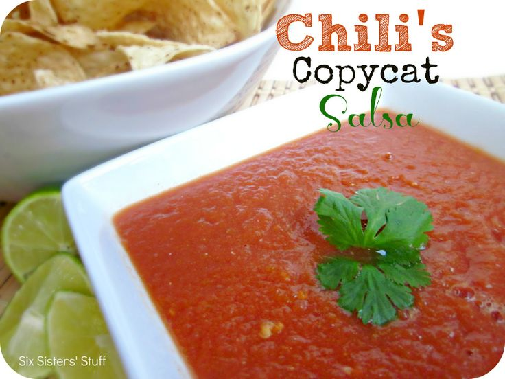 Chili's Copycat Salsa Recipe from SixSistersStuff.com.  After a lot of trial and error, we think we are pretty close to the real thing!  It is simple to make and tastes amazing! #recipes #salsa: Mexican Recipes, Chilis Salsa Copycat, Recipes Salsa, Chilis Copycat Salsa, Chili S Copycat, Copycat Recipes, Salsa Recipes, Sixsistersstuff Com