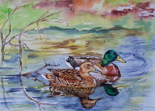 Vögel - Wildenten - Original Aquarell - 24x30 cm  Das Bild ist ein Original Aquarell, auf hochwertigem  Aquarellpapier 300 g, mit Schmincke Aquarellfarben gemalt und handsigniert.   Sie...