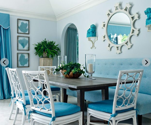 Dark Wicker Chairs Blue Cushions Match Our Dark Table. Like The Wall Art