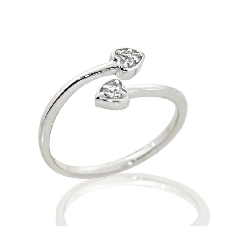 18K Gold Over Sterling Silver CZ Double Heart Toe Ring 2YaF7wc9