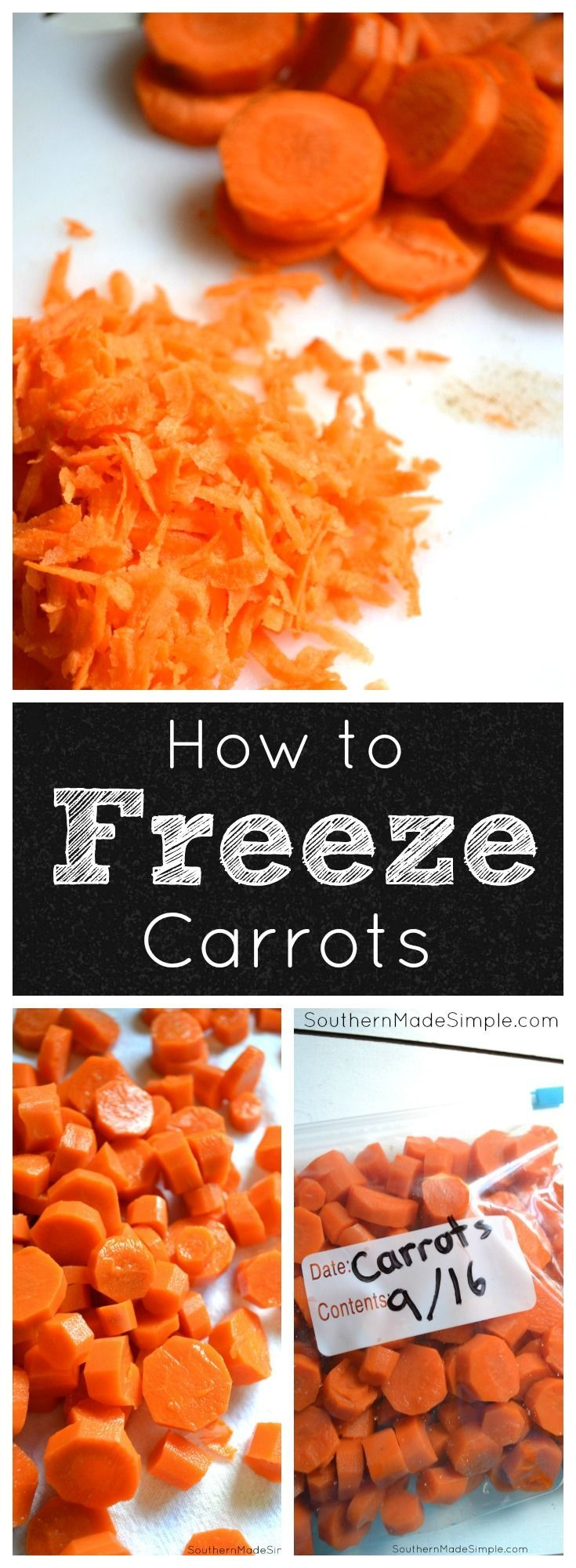 A step by step tutorial on how to properly freeze carrots. No more throwing out produce!