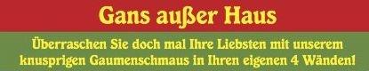 Das Restaurant die Scheune in Grunewald bereitet ihre köstliche Gans inklusive aller Beilagen vor, Sie selbst verleihen Ihrer Gans den letzen köstlichen Feinschliff und vor den staunenden Augen Ihrer Familie oder Kollegen servieren. Heute bestellt, morgen oder zu einem Termin ihrer Wahl erfolgt die Auslieferung innerhalb Berlin´s oder Sie holen Ihr Gänsebraten Menue selbst ab