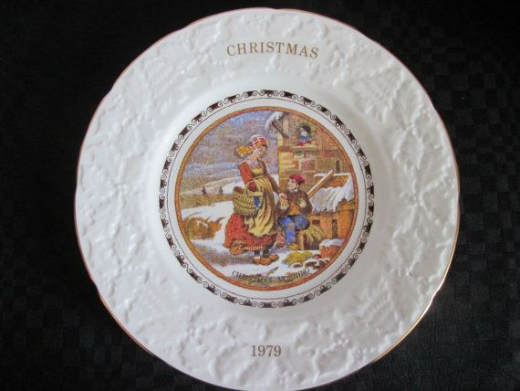 Vintage Assiette décorative Pratt 4 ième de la série de Christmas  1979/ Vintage Decorative plate Pratt 4 of the series of Christmas on 1979