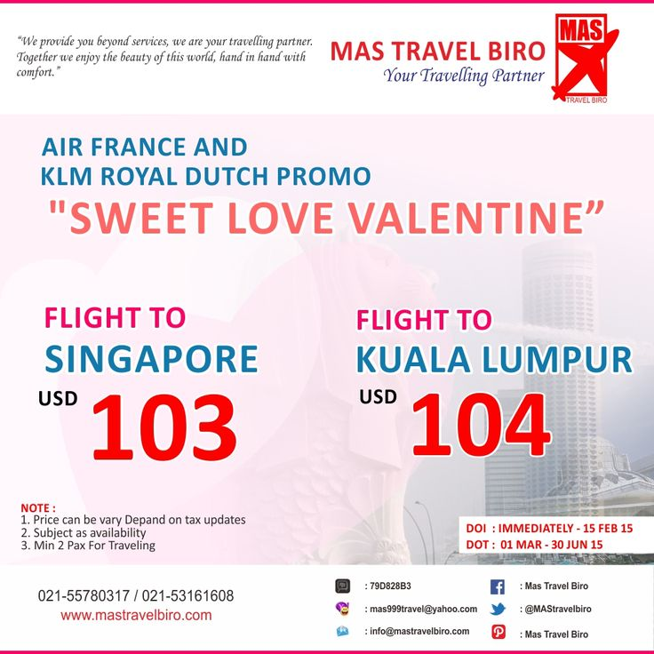 Air France and KLM Royal Dutch Promo, Book Now!! Valid till 15 Februari 2015. **Min 2 Pax for travelling