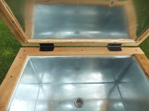 diy rustic cooler with sheet metal | Custom Made Rustic Wood Cooler, Ice Chest, 90qt