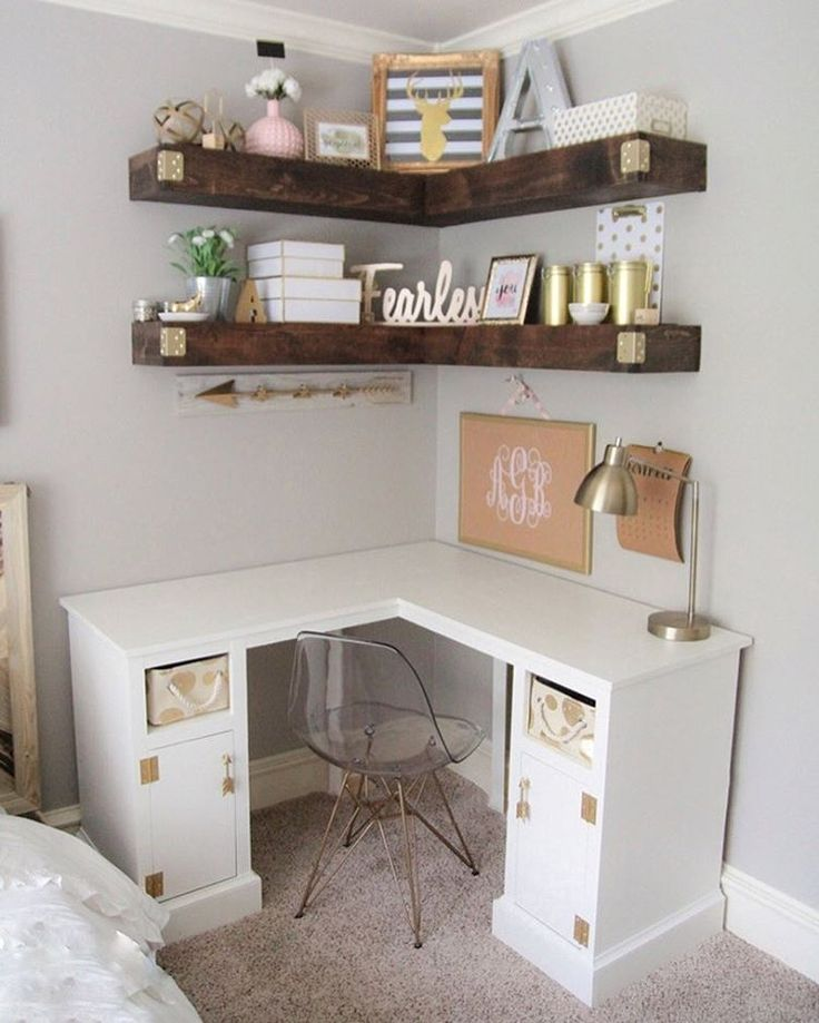 Who doesn't need a little cute organization right about now ♀️♀️Free plans for these floating corner shelves and corner desk on our site, just search by project name (link in profile) ❤#shanty2chic