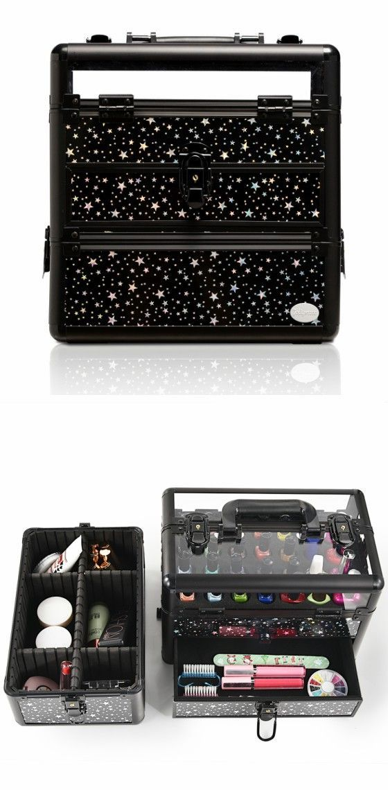 Black Star Print Professional Nail Artist Makeup Train Case with Drawer--Joligarce Travel makeup case with mirror Artis makeup case Makeup vanity with storage Makeup organizer with mirror Best makeup case Big makeup case Cheap makeup organizer Cosmetic train case Makeup case with brush holder Makeup organizer with drawers Makeup case with lock Makeup artist train case Portable makeup case #makeuporganizercheap