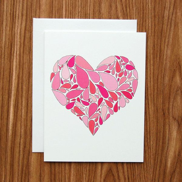 love or Valentine's Day card // heart drops card // hand drawn pink and red heart