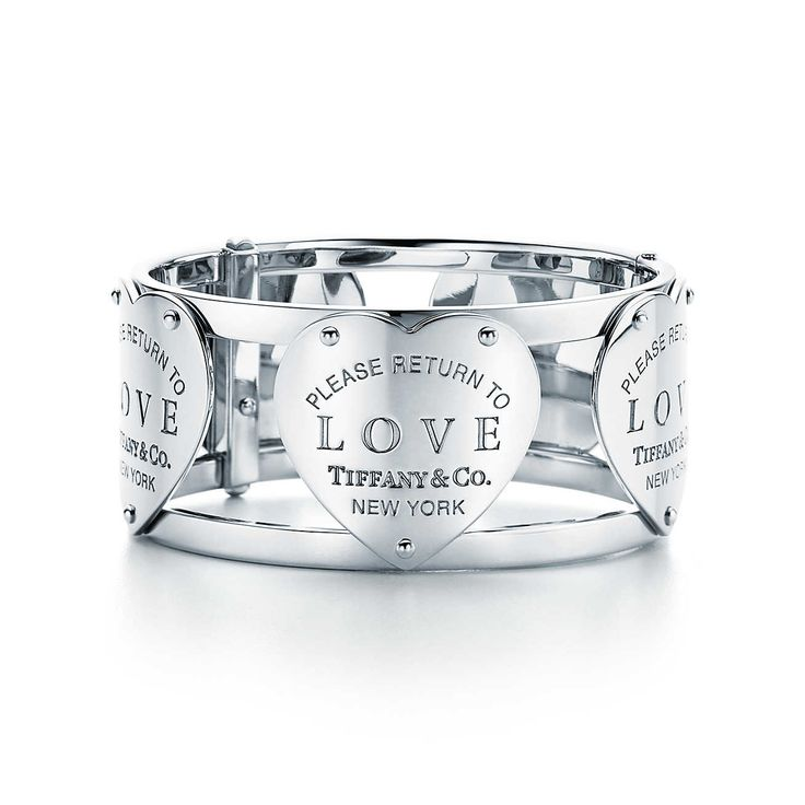 Return to Tiffany® Love wide hinged cuff in sterling silver, medium.