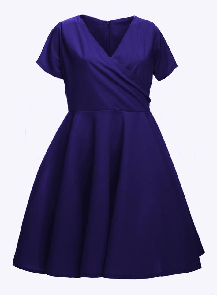 Sukienka z zakładkowym dekoltem, dół z koła 44-68 - Sklep internetowy ByLola
