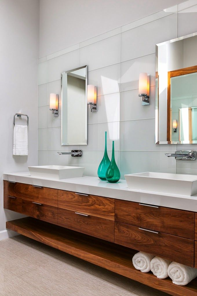 Walnut vanity; white top; tile. Sleek and clean lines. House of Turquoise: Christine Sheldon Design