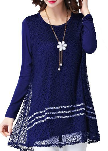 Navy Blue Long Sleeve Lace Panel Tunic Top
