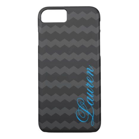 Gray chevron phone case with name personalization #chevron #iphone #cases #protectiion