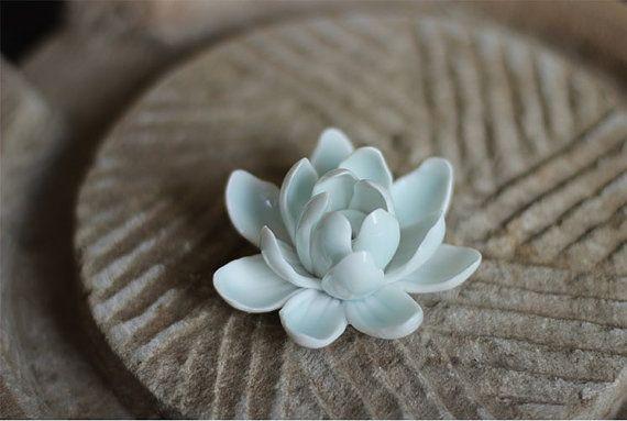 Lotus Princess: Ceramic Flower Sculpture / Ornament ~ Ceramic Lotus Flower Miniature ~ Wedding tableware