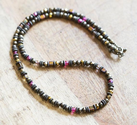 Earthy Bronze and Fuchsia Beaded Necklace