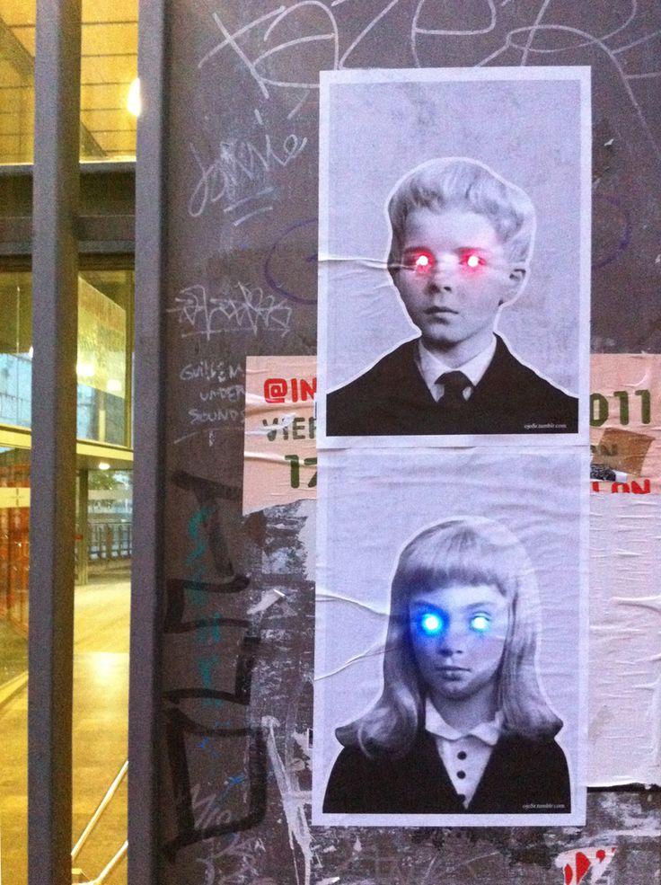 LED street art by Spanish collective Ojo Señor on Carrer de Montalegre in Barcelona, Spain.
