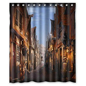 """Amazon.com: Unique and Generic Potter Diagon Alley Shower Curtain Custom Printed Waterproof fabric Polyester Bath Curtain 60""""(w) x 72""""(h) Inches-Bathroom Decor Shower Curtain: Home & Kitchen"""