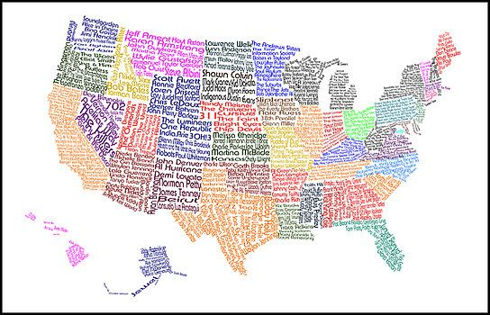 United States Music Map Art By Trudy Clementine Art Map - 40x60 us maps
