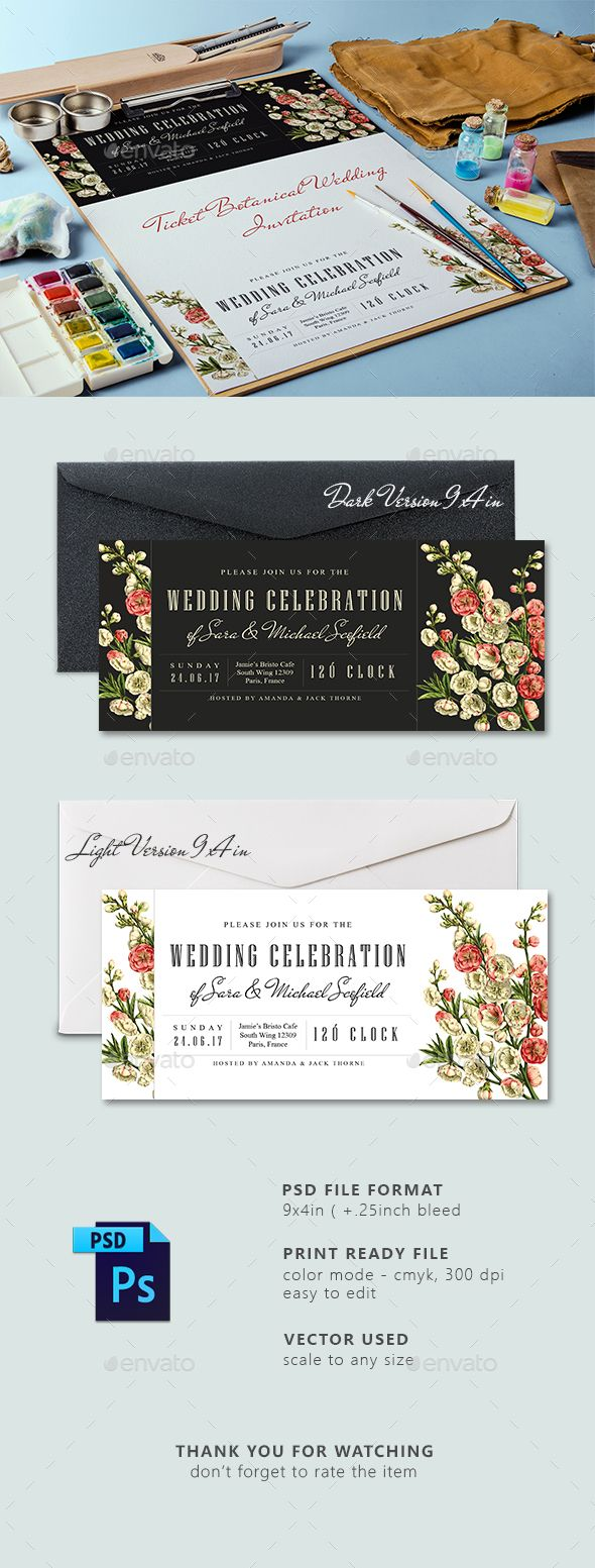 Ticket Botanical Wedding Invitation Card 1036 best