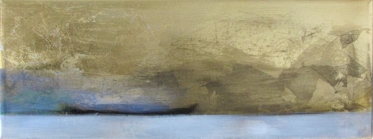 The blue boat, oil on metal, 24x61cm