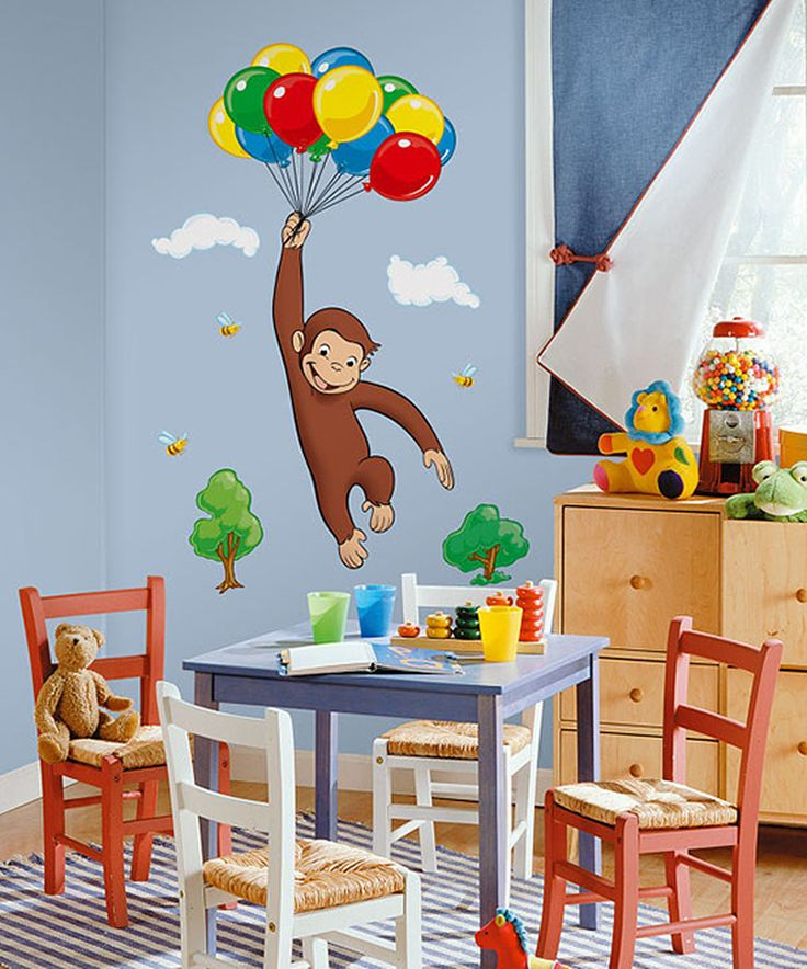 Your Curious George Giant L Stick Wall Mural Here What A Mischievous Little Monkey Bring All The Fun And Wonders Of To Room