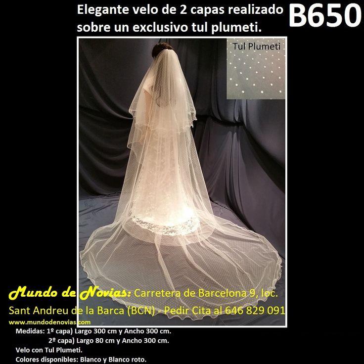 Elegante Velo de Novia de Tul liso Plumeti, de la marca Novias Ukraine. Se hacen envíos a toda España y también se pude pedir CITA para venir a probarlo en tienda (WhatsApp 646829091).