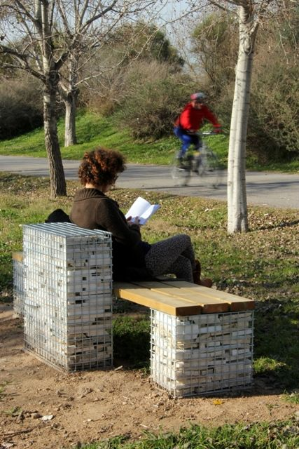 Relaja. Sustainable urban furniture #gabion #social #recycled #marble #sustainability