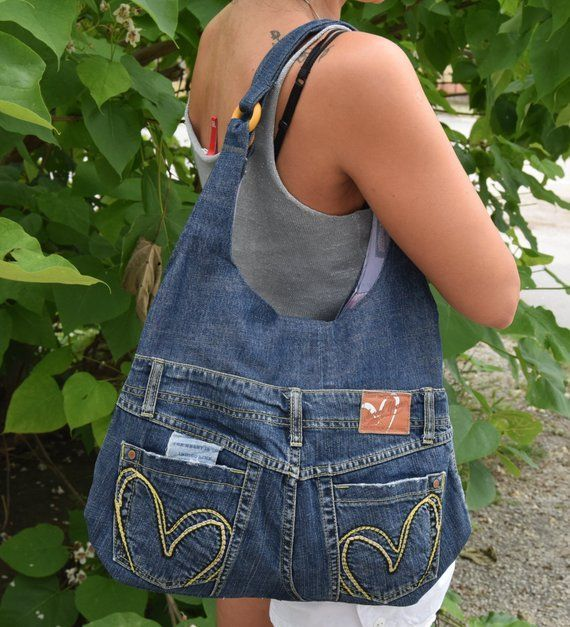Jeans pocket, recycled jeans, shoulder bag, casual jeans pocket for summer, dark blue, suitable for school, a bag with four outside pockets