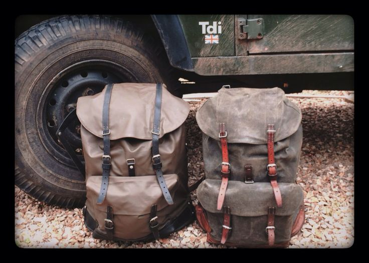 Vintage Swiss Army rucksacks; 1980's and 1950's canvas  leather - reconditioned.
