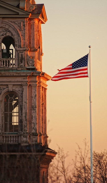 Sunset on the flag, Gloucester City Hall tower