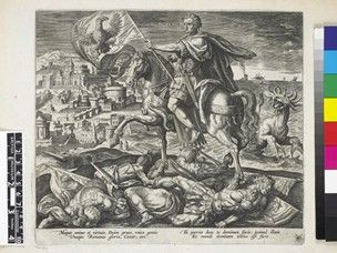"""Julius Caesar; fourth in the series """"Four illustrious rulers of antiquity"""", published by Collaert. Caesar, in armour and with a laurel wreath, on horseback, bearing a standard depicting an eagle; the horse trampling three kings with standards depicting a lion, a ram and a goat; a city in the background to l and the sea to r; a ferocious sea-creature to r rises from the sea towards Alexander.    Etching and engraving"""