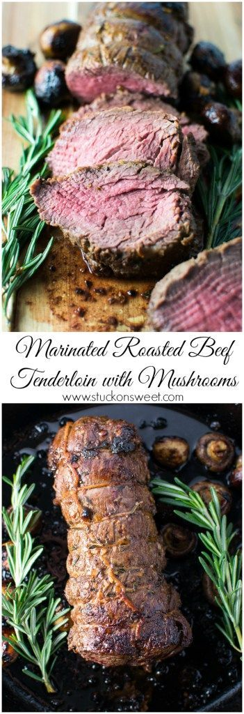 Marinated Roasted Beef Tenderloin with Mushrooms. The perfect dinner recipe for the holidays! | www.stuckonsweet.com