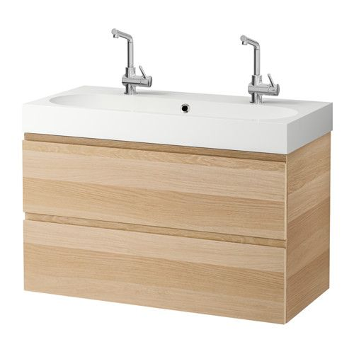 """GODMORGON / BRÅVIKEN Sink cabinet with 2 drawers, white stained oak effect - 39 3/8x19 1/4x26 3/4 """" - IKEA"""