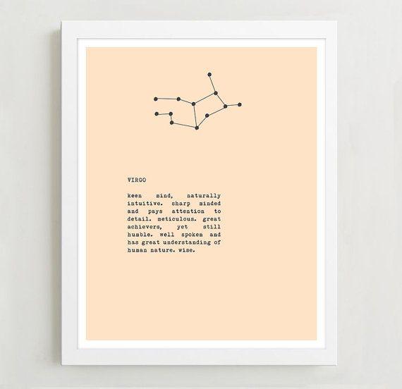 Virgo Constellation Typography Print - Zodiac Sign Art - Wall Decor - Birthday Gift - Virgo Sign Art