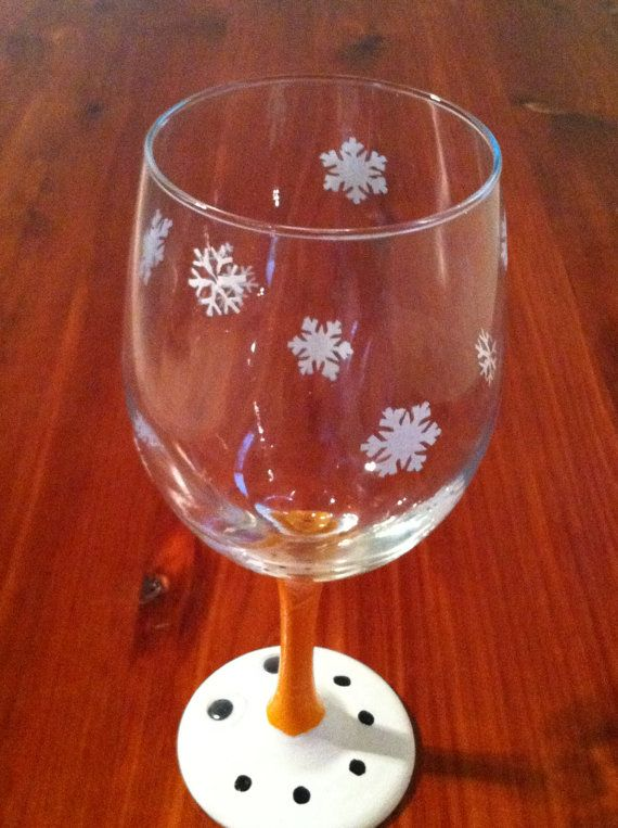 Snowman hand painted wine glass by marvelingmadness on for Christmas painted wine glasses pinterest