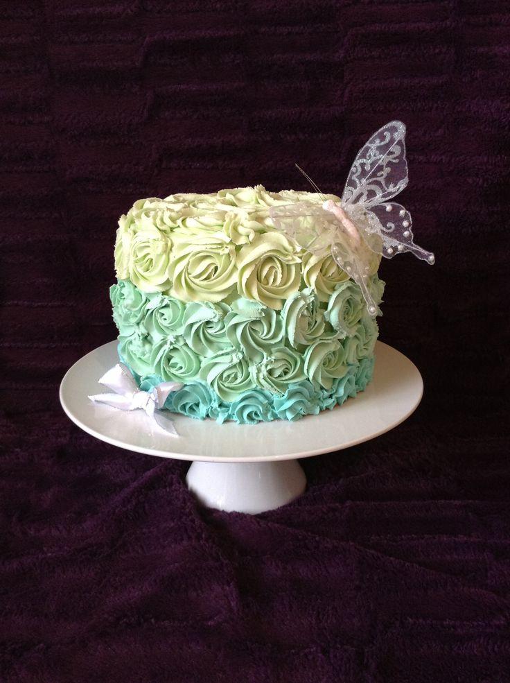 Cake Decorating Rosettes : Buttercream blue ombre rosette cake Cakes Pinterest