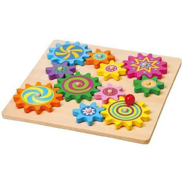 This bright and colourful wooden spinning gears playset will keep kids entertained for hours. http://squoodles.co.nz