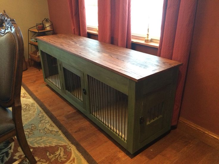 Dog crate console.