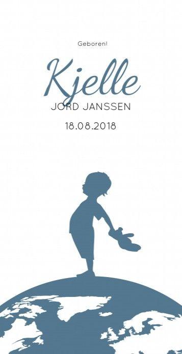 Stoer strak jongens geboortekaartje Kjelle met een wereldbol en een vintage silhouetje. Simpel en modern!